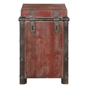 sale retailer 65fd7 b9f8d Details about Ludlow Trunk Side Table Wood Tuscan Red 26H Accent End  Nightstand Farmhouse