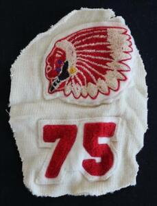"""VINTAGE 1975 SCHOOL SWEATER WHITE AND RED PATCH 5 1/2"""" X 7 1/2"""""""