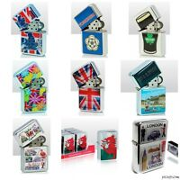 RETRO COLLECTABLE STEEL WINDPROOF REFILLABLE CIGARETTE LIGHTER PETROL- ASSORTED