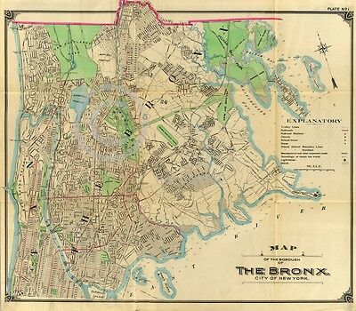 1900 BEAUTIFUL LARGE WALL MAP BRONX NEW YORK