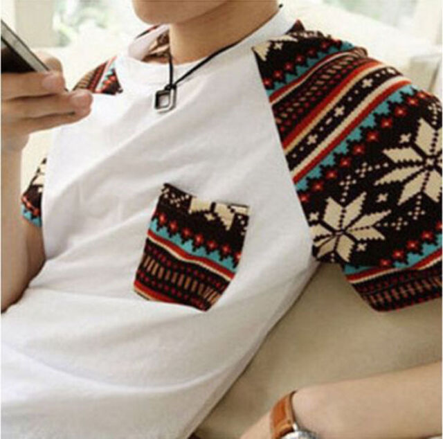 Cheap Korean Fashion Mens Summer Top Short Sleeve Boy Round Neck T-shirt M-XXL