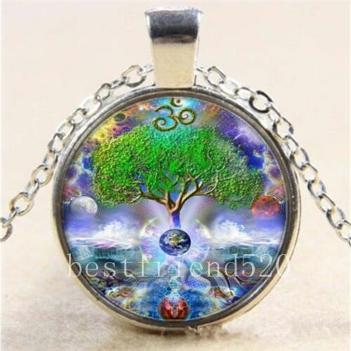 OM Tree of Life Cabochon Glass Tibet Silver Chain Pendant Necklace