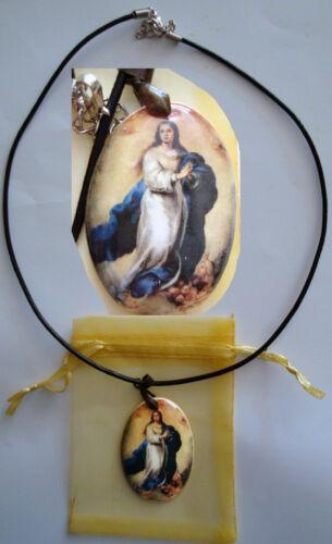"""Medalla porcelana cerámica de la virgen de Ntra Sra de /"""" Inmaculada Concepción /"""""""