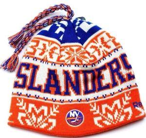 e0f9222cc95 New York Islanders Reebok NHL Tassel Winter Knit Hockey Hat Beanie ...
