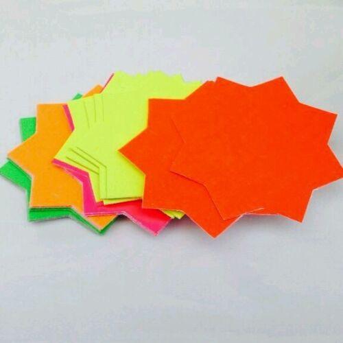 540x neon Fluorescent Stars Flash Price Display Tags Flourescent Labels Shop 8cm