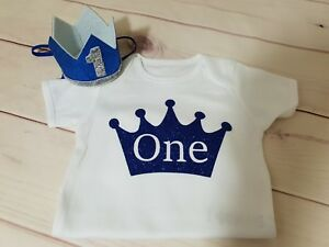 Boys First 1st Birthday Outfit Cake Smash Set Vest Top Crown Hat Blue for 9-18 Months Baby Boys