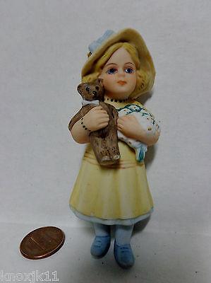 1988 Jan Hagara MEG Figurine Cake Topper CHRISTMAS ORNAMENT Girl w/ Flowers Bear