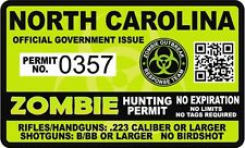 North Carolina Zombie Hunting Permit 4x24 Sticker Outbreak Unit Decal Nc