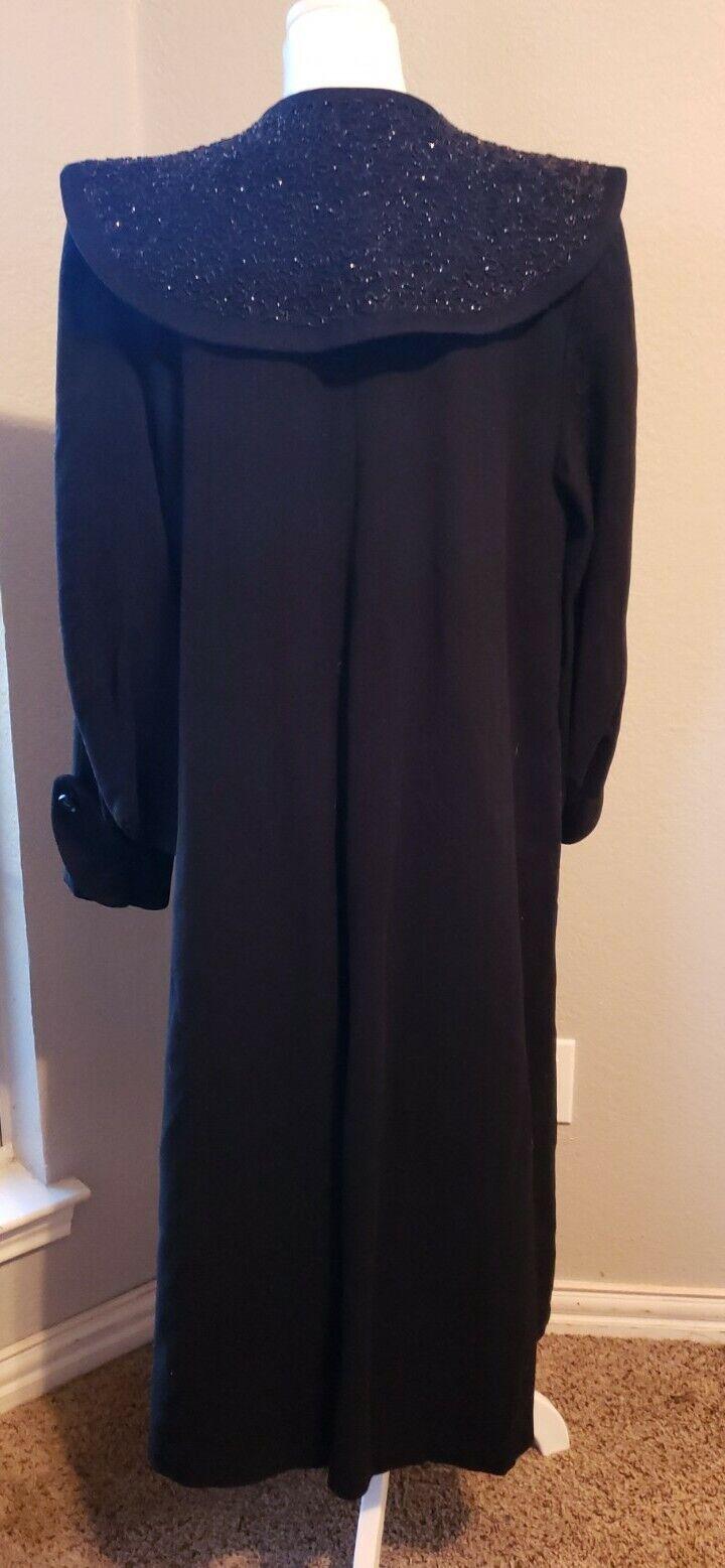 Vtg 40's 50's Mademoiselle Inc Wool Black Beaded … - image 7