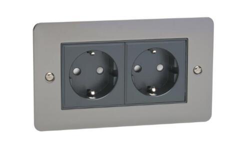 2 G double alimentation électrique euro Prise D/'AlimentAtion Plaque Murale Nickel Noir Noir