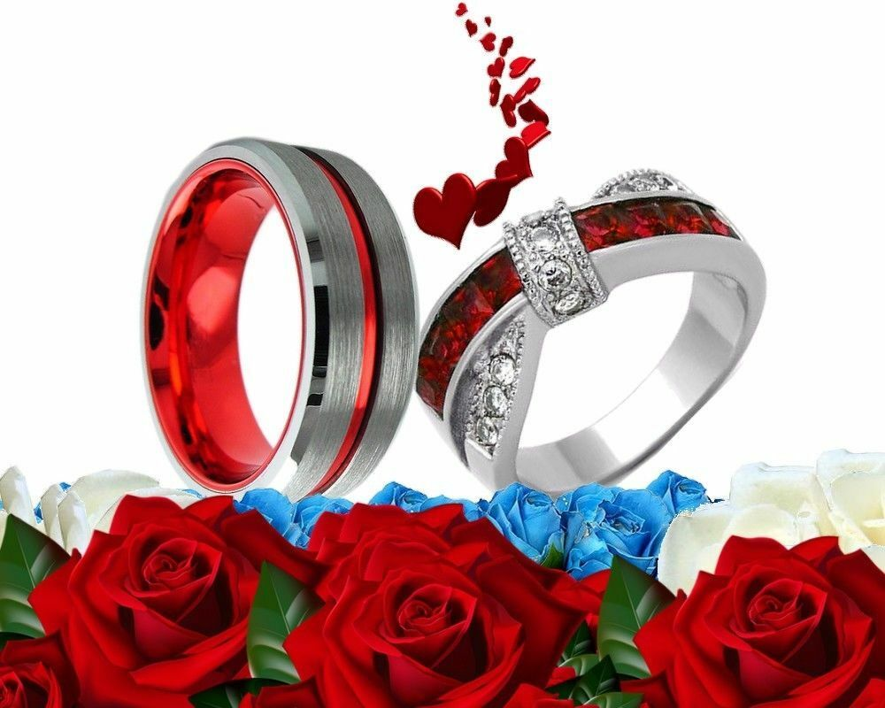 His Tungsten And Her Stainless Steel Red Cz Engagement Bridal Wedding Ring Set