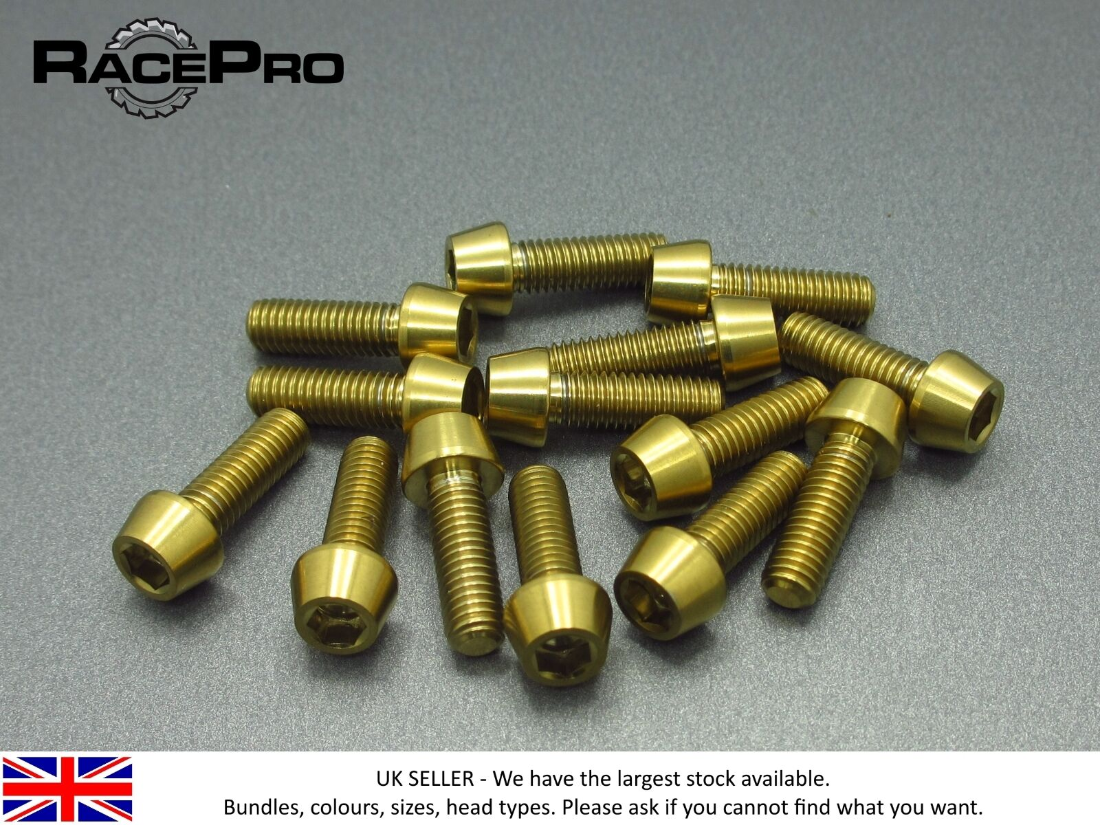RacePro - 20x Titanium Tapered Bolt GR5 - M6 x 30mm x 1mm - Allen Head - gold