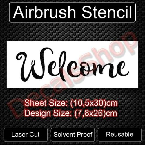WELCOME STENCIL WORD SPRAY PAINT CRAFT TEMPLATE BACKGROUND NEW FREE SHIPPING