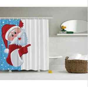 Digital-Santa-Claus-Christmas-Red-Holiday-Art-Fabric-Shower-Curtain-Bathroom