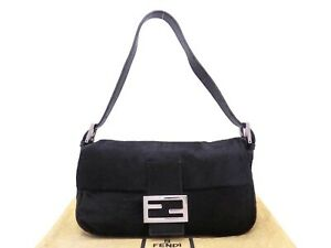 Auth FENDI Baguette Shoulder Bag Black Calf Hair/Leather Silvertone - e47243a