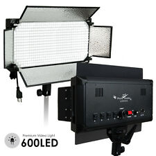600 LED Light Panel Kit Photography Video Studio Lighting Dimmer Mount Phot