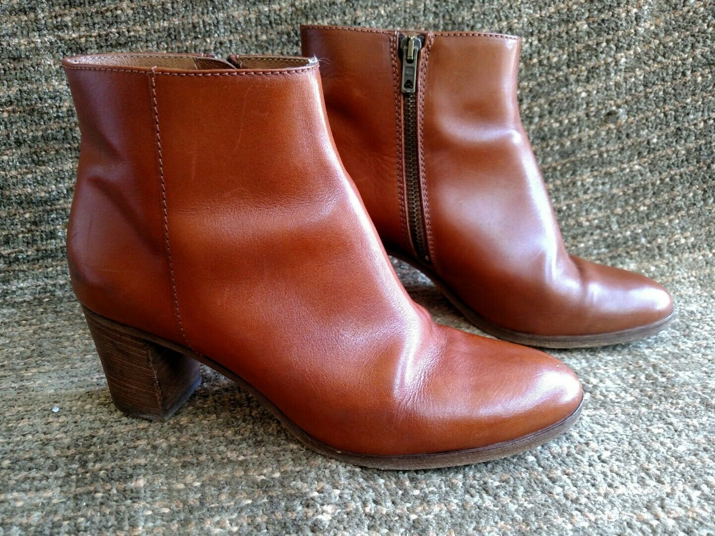 J.Crew Italian Saddle Leder high-heeled zip up ankle boots Größe 8