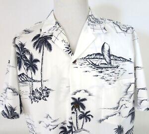 Vtg-Royal-Creations-XL-Hawaiian-Map-Aloha-Shirt-King-Kamehameha-Poly-Cotton-USA
