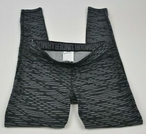UNDER-ARMOUR-Favorite-Printed-BLACK-Gray-UA-Striped-1300181-Leggings-FITTED-S