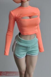 1//6 Female Tight T-Shirt High Collar Crop Top Cothes Fit12/'/' TBL Phicen Body