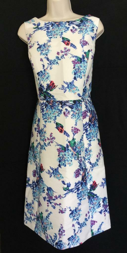 TALBOTS TALBOTS TALBOTS Ivory blueee Mixed Flowers Fit N Flare Dress 12 NWT Womans (MSRP  229) d39bd5