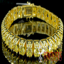 MENS LADIES 1 ROW CANARY THICK 6MM TENNIS BRACELET 10K YELLOW GOLD PLATED NEW 3D
