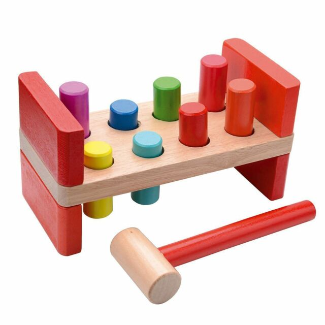 Sentik Wooden Pounding Bench Pound A Peg Toy With Hammer For Babie Children