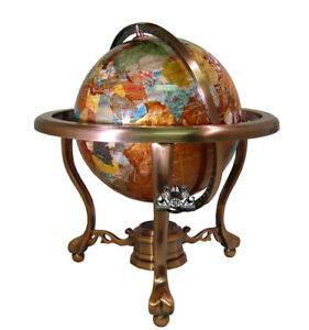 Details about 13 tall amber pearl copper stand gem gemstone world map globe globes maps image is loading 13 034 tall amber pearl copper stand gem gumiabroncs Image collections