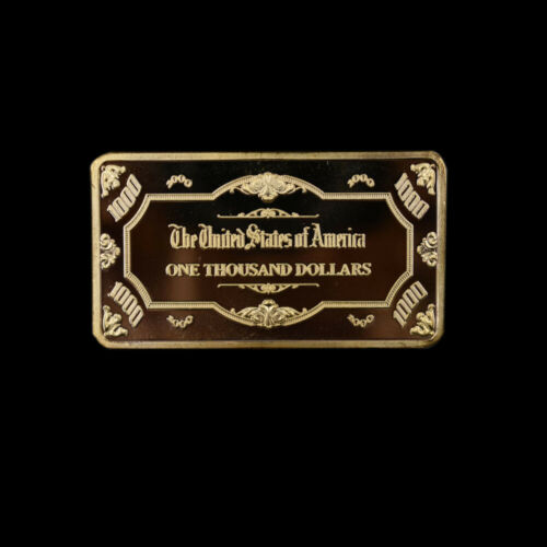 Home Decorative Gold Bar 1000 Dollar American Gold Plated Bars Collectible