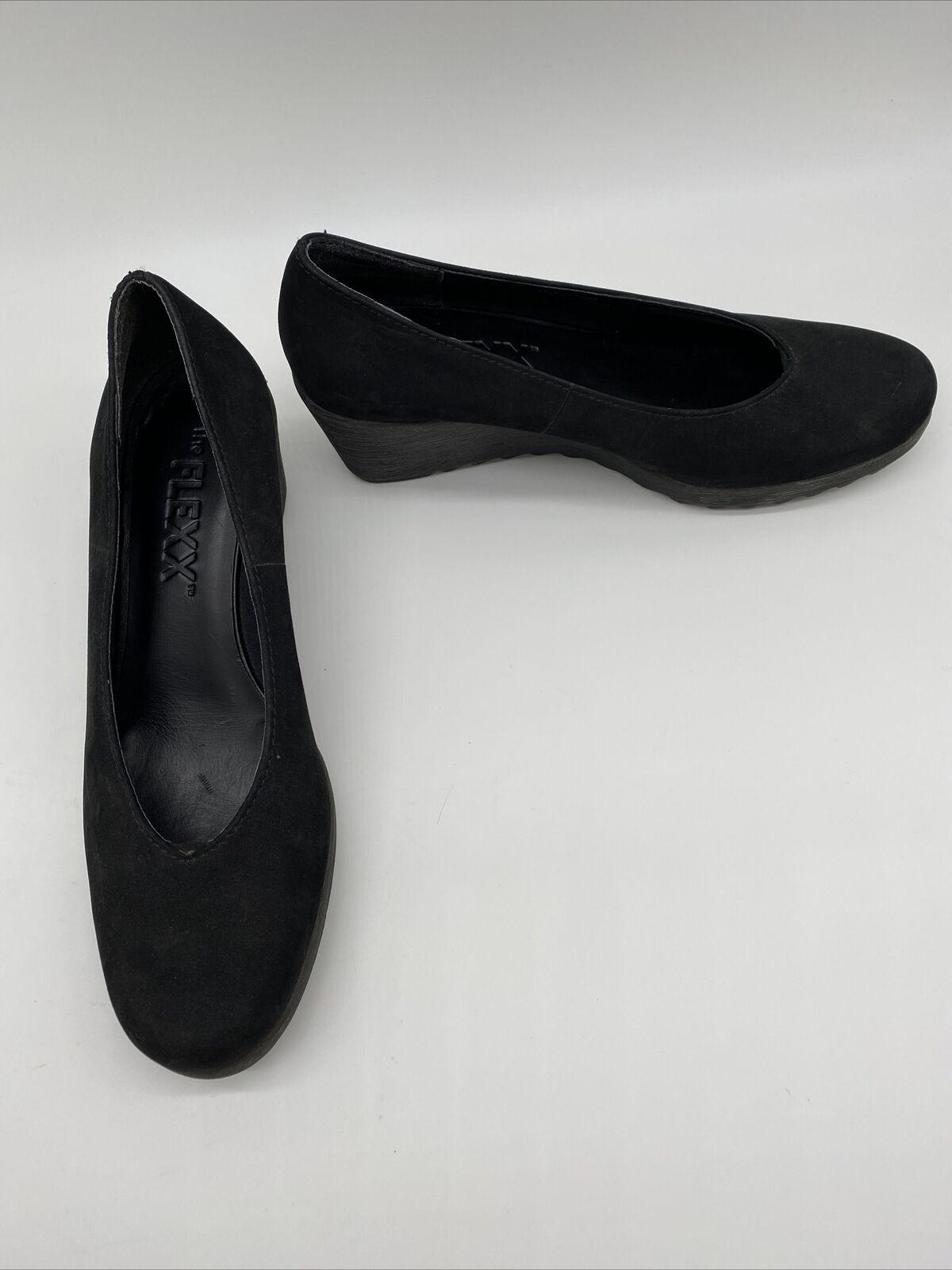 The FLEXX Womens Comfort Shoes Black Faux Suede Wedge Heel EUR 39 US 8 M