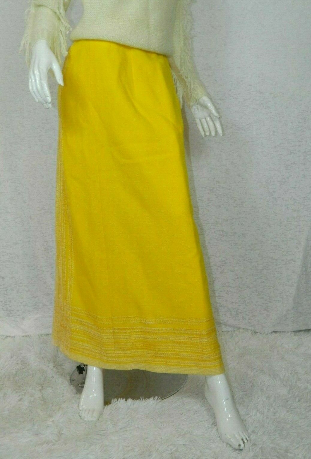 Vintage Arola Finland Skirt Yellow White Wool 70s… - image 9