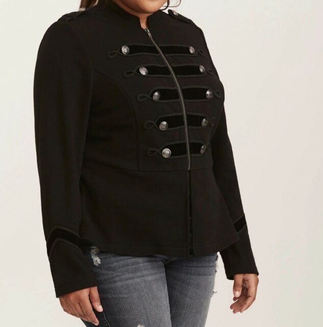 3089cd3fbb5 Torrid Black Embellished Zip Front Military Jacket 1x 14 16  24749 ...