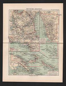 Carte Map 1892: Deutsche Colonies. Mers Du Sud Empereur-guillaume-pays.-s-land. Fr-fr Afficher Le Titre D'origine