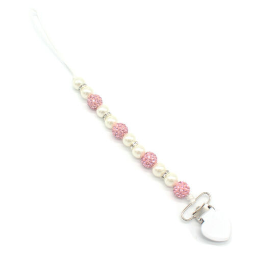Baby Pacifier Clip Boy Girl Crystal Plastic Beaded Pacifier Holder Clip F6V6 1X