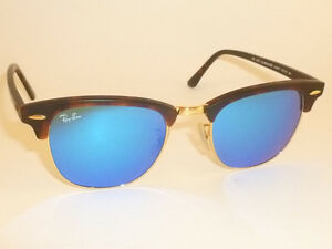 bacfc338cc Details about New RAY BAN Clubmaster Matte Tortoise RB 3016 1145 17 Blue Mirror  Lenses 51mm