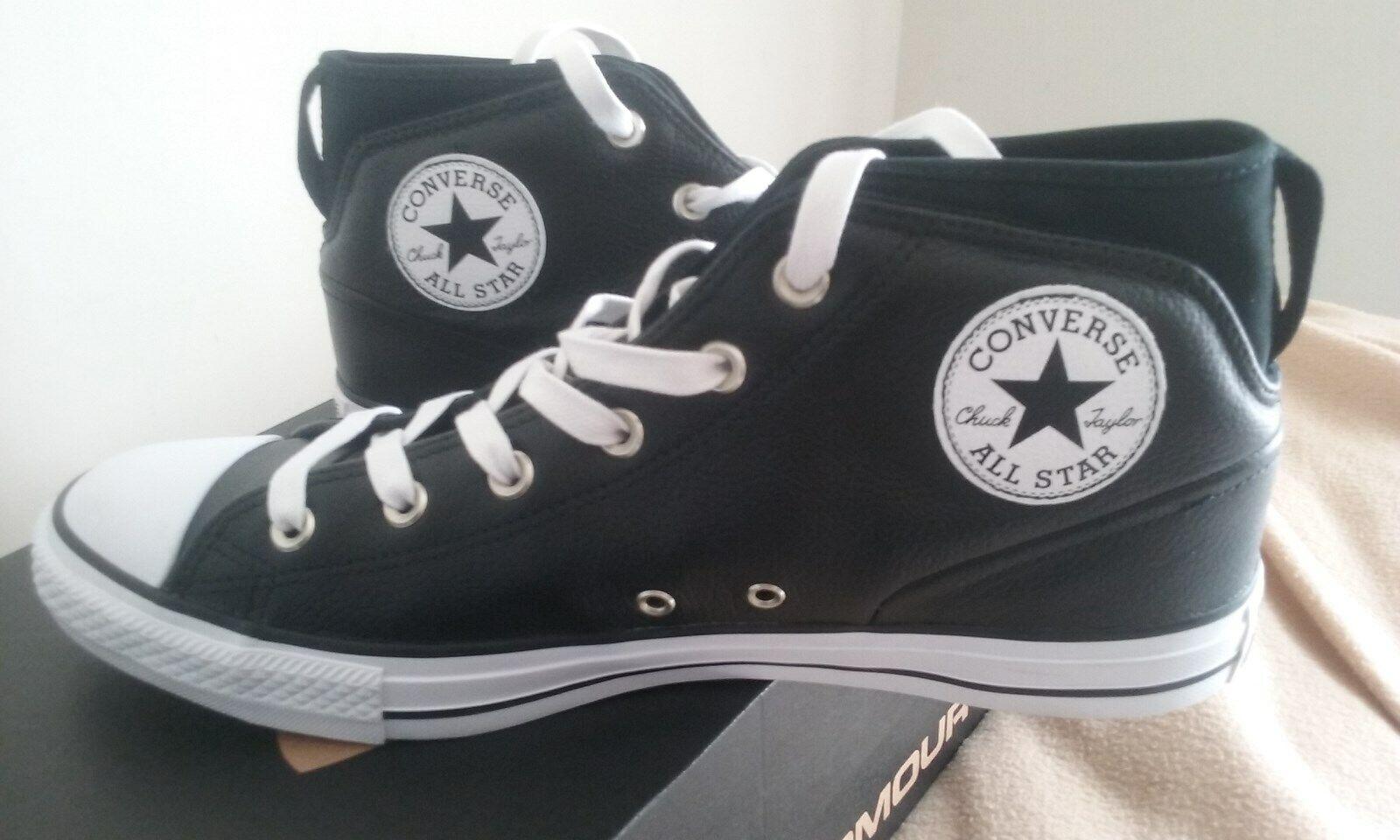 (NOUVEAU) CONVERSE ALL STARS noir en cuir se faufile, grande Chaussures    Taille 11 fabricants Standard prix de détail 145.00