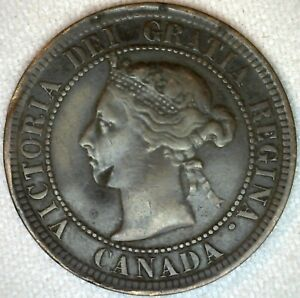 1891-Bronze-Canadian-Large-Cent-Coin-One-Cent-Canada-Fine-1c-K327