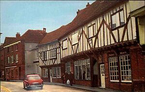 Sandwich-Kent-Color-AK-1960-70-The-Weavers-Strassenpartie-Fachwerkhaeuser-Auto