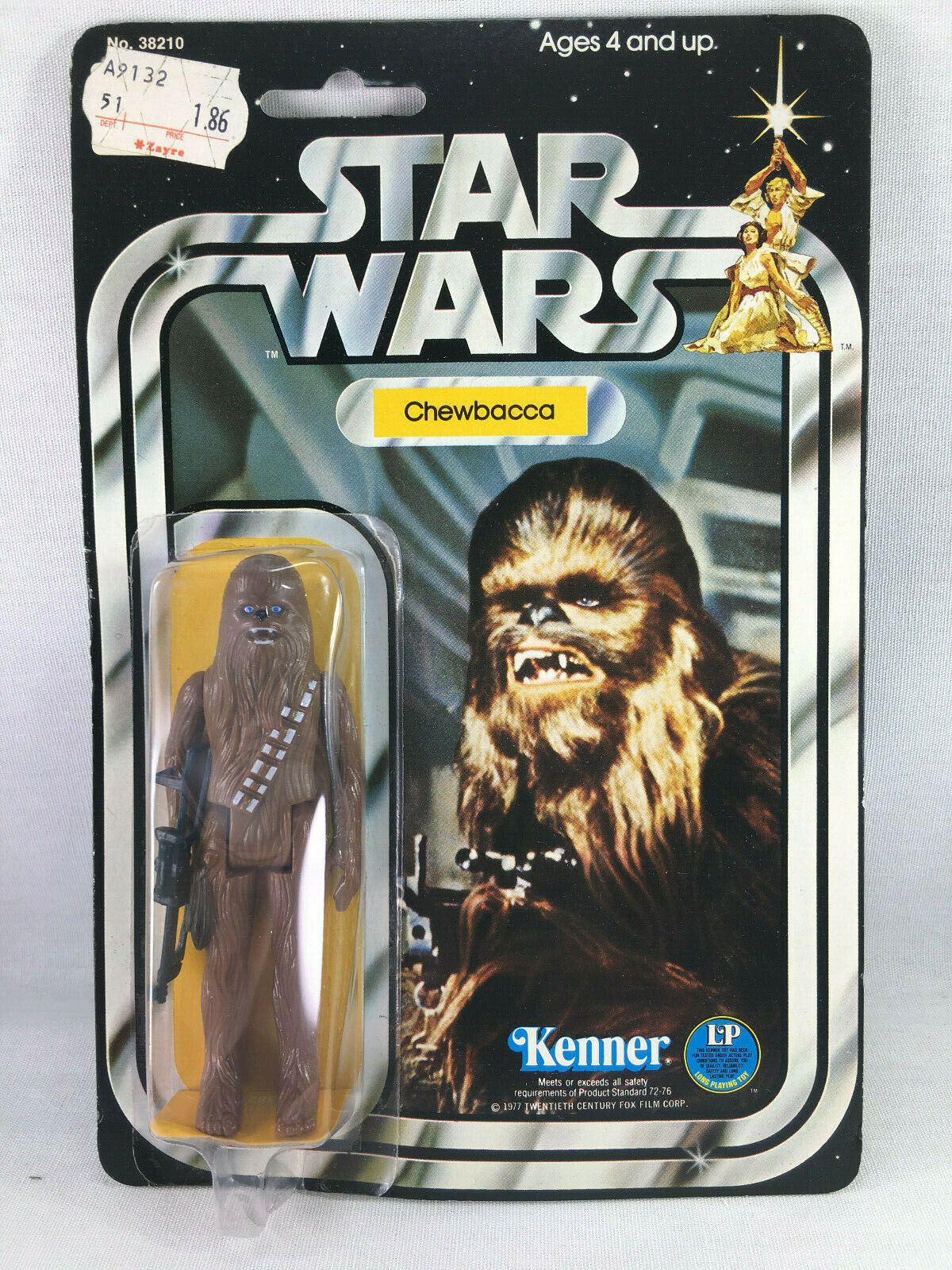 1977 KENNER Stern WARS CHEWBACCA FIGURE 12 BACK A SKU FOOTER MOC NEW