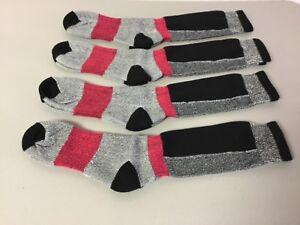 NWOT Mens 47/% Merino Wool Long Top Socks Size Large Grey w// Black  4 Pair