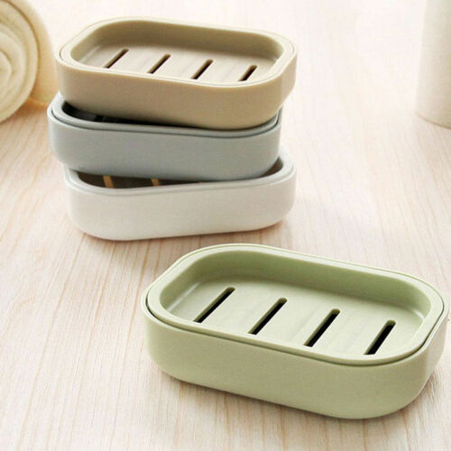 Useful Soap Dish Plastic Soap Holder Dispenser Drain Shower Bathroom Organizer