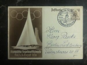 1936 Berlin Germany Postcard First Day Cancel Cover FDC Olympics