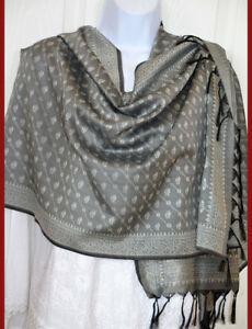 Banaras-Silk-Gray-Woven-Floral-Paisley-Shawl-Wrap-Stole-from-India