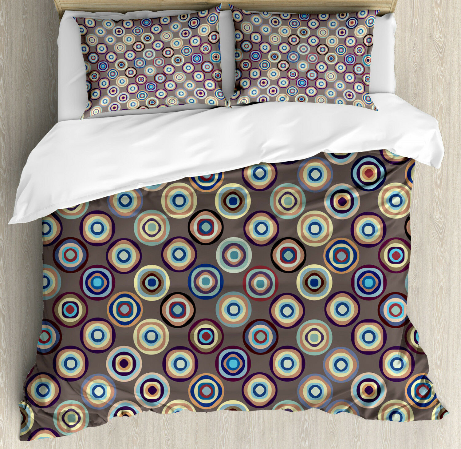 Geometric Duvet Cover Set with Pillow Shams Abstract Big Dots Print