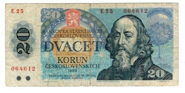 CZECHOSLOVAKIA 20 Korun (1988) P-95a Prefix E 25 F Banknotes Paper Money