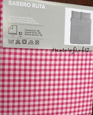 IKEA Full Queen Duvet Quilt Cover 3 pcs set IKEA Barbro Ruta Pink White Gingham