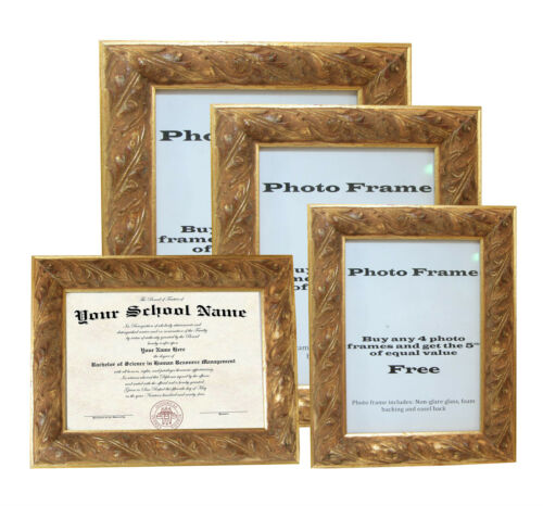 """Custom Picture FrameOrnate Gold 1 1//4/""""Great for Dimplomas /& Certificates"""