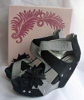 Ruby Shoo Goldie Black Wedge High Heel Platform Peeptoe Shoes Sz 7 Boxed