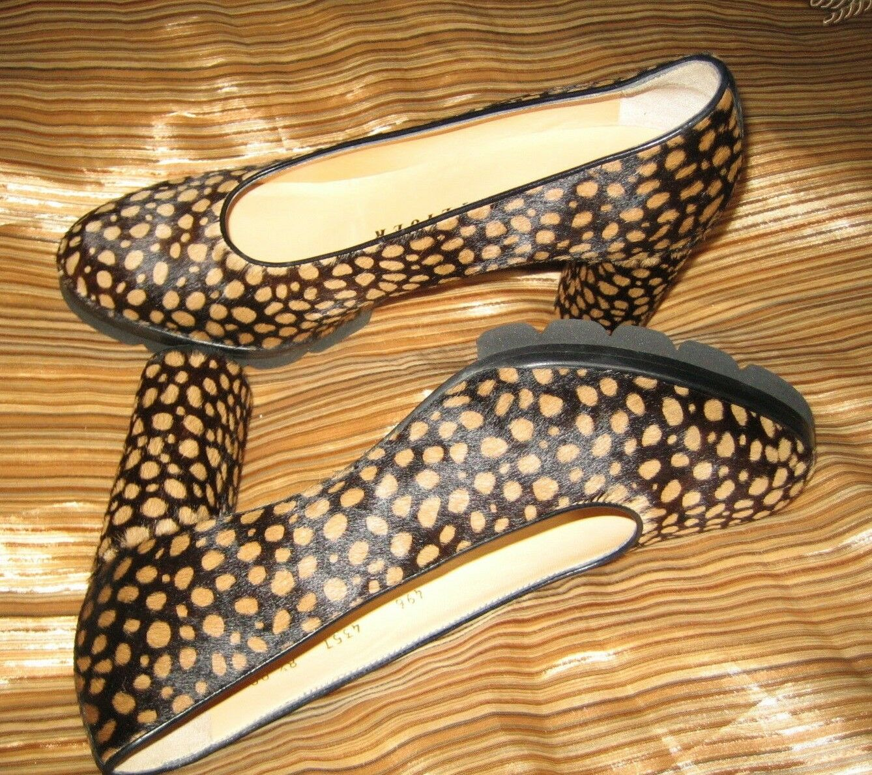 695 WALTER STEIGER HANDMADE IN ITALY PONY HAIR scarpe CHEETAH PRINT 8.5 AA