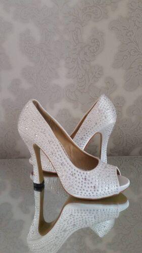 Satin Ladies Vintage Crystal Bridal Wedding Shoes Bridesmaid Prom High Heel UK